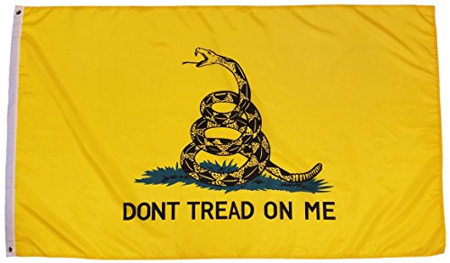 Gadsden Dont Tread Flag (HJ Wireless Gadsden Flag Dont Tread On Me Flag 3x5 Feet - Flag, Polyester Tea Party Rattle Snake Banner with Grommets 3x5 Double Stitched)