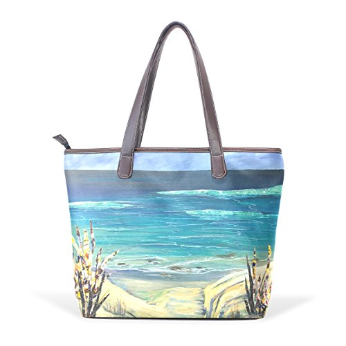 COOSUN Womens Sea Art Pu Leder Große Einkaufstasche Griff Umhängetasche