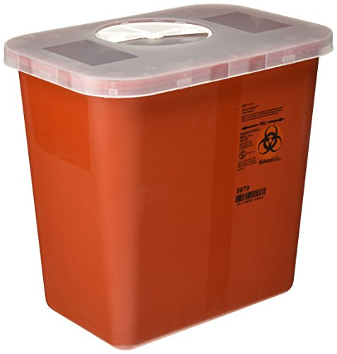 Kendall Covidien Multi-Purpose Sharps Container with Rotor Lid, Red ()