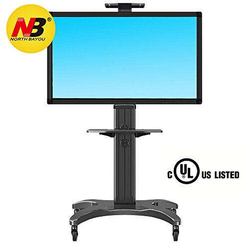 Lcd Flat Panel Monitor Stand (North Bayou Mobile TV Cart TV Stand with Wheels for 32 - 65 Inch LCD LED OLED Plasma Flat Panel Screens up to 80lbs Aluminum (black))