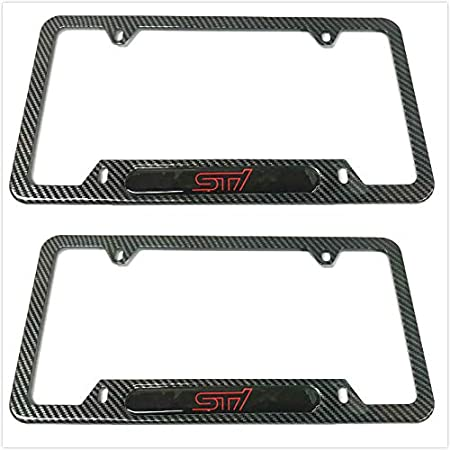 1 Mesport Carbon Fiber Style Stainless Steel Rust Free STI License Plate Cover Frames Holder with Screw Caps for Subaru