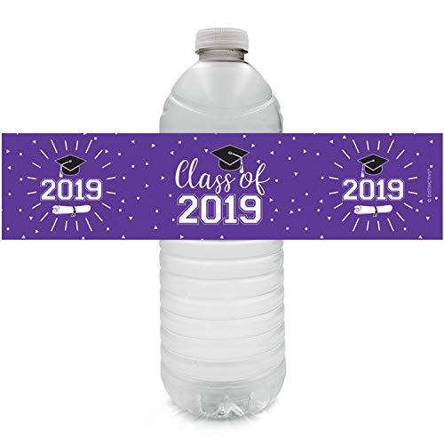 - Class of 2019 Graduation Water Bottle Labels   24 Stickers (Purple)