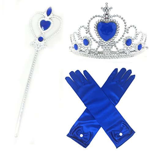 Princess Dress up Party Accessories - 3 Piece Gift Set: Gloves, Tiara and Wand (Royal Blue) (Cinderella Wedding Dress Costume)
