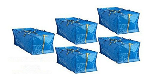 5 X Large Blue FRAKTA ZIPPERED Tote Storage Laundry BAG from Unknown