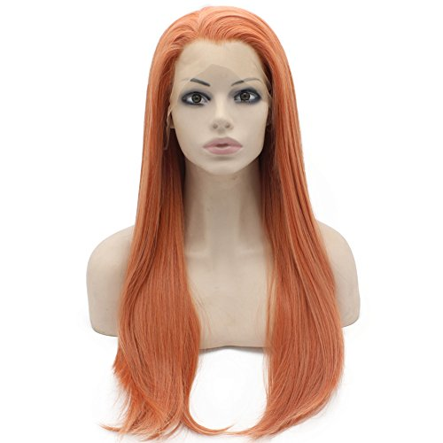 24inch Long Straight Half Hand Tied Reddish Blond Celebrity Synthetic Lace Front Wig Natural at (Celebrity Front Lace Wigs)