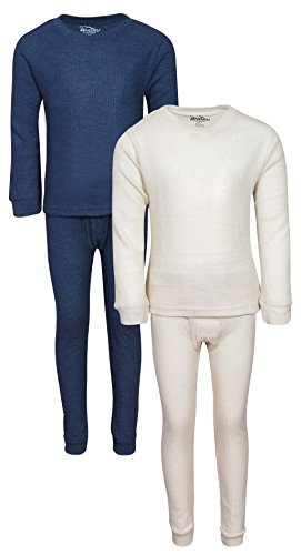 'Snozu Boys 2-Pack Thermal Warm Underwear Top and Pant Set, Navy/Natural, Size 7'