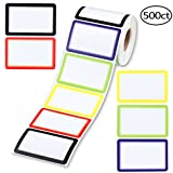SD 500PCS Name Tag Labels, Colorful Border Name Tag Stickers for Party School Office Household Storage Identification, 3.5''×2.25'', 5 Colors