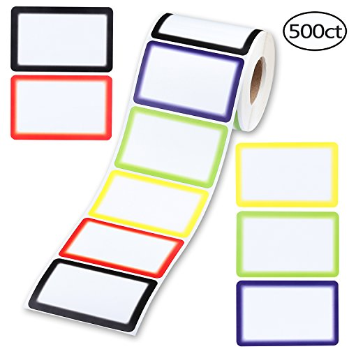 SD 500PCS Name Tag Labels, Colorful Border Name Tag Stickers for Party School Office Household Storage Identification, 3.5''×2.25'', 5 Colors by shadow dancer