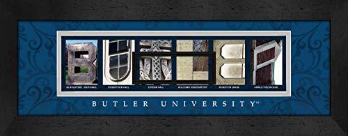 - Prints Charming Letter Art Framed Print, Butler University-Butler, Bold Color Border