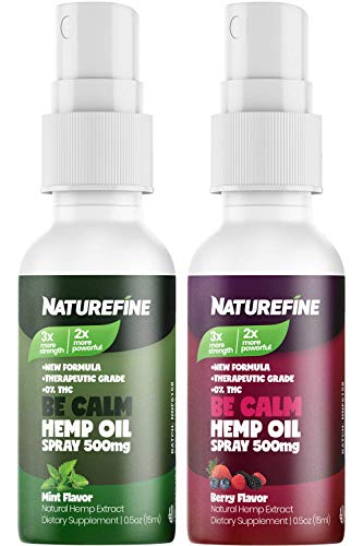 (2-Pack) Hemp Oil Spray - 1000 mg - Faster Absorption - Natural Berry & Mint Flavors - Natural Pain Relief & Anxiety - Proudly Grown & Made in The USA