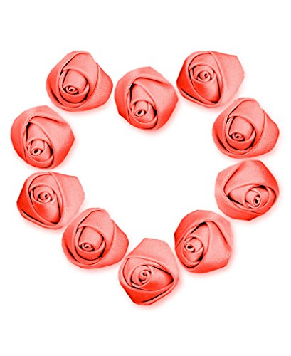Ajetex 50pcs Satin Ribbon Rose Flower 25mm Wedding Appliques Coral