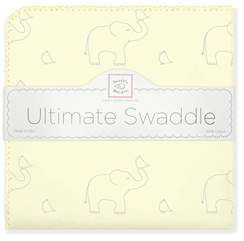 SwaddleDesigns Ultimate Swaddle Blanket, Made in USA, Premium Cotton Flannel, Sterling Deco Elephants on Sunwashed (Yellow Deco Trim)