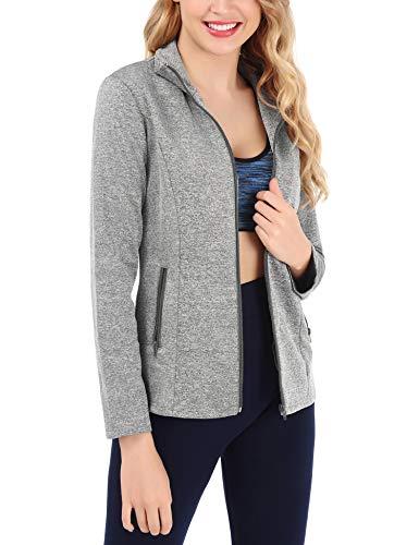 FISOUL Women's Running Sport Jacket Lightweight Full Zip Workout Track Jacket with Zipper Pockets(Gray,Small)
