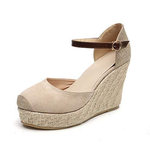 JJLIKER Women Chunky Platform Wedges Sandals Closed Toe Ankle Buckle Strap Shoes Espadrille Non-Slip Classic Pumps Beige - Bejeweled Pumps