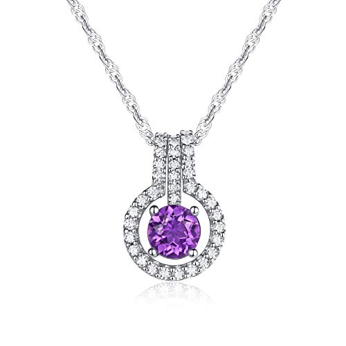 (Gifts for Mother Natural Amethyst Gemstone Round Shape with 925 Sterling Silver Necklace Pendant,18
