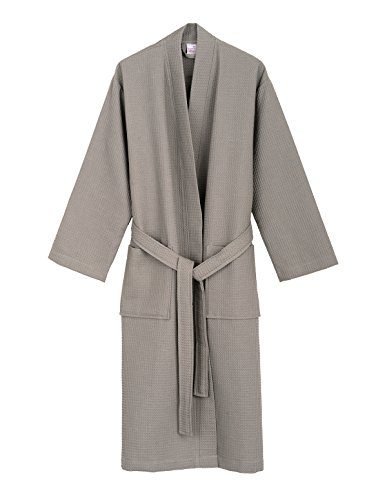 TowelSelections Men's Robe, Kimono Waffle Spa Bathrobe Medium/Large Silver (Male Robes)