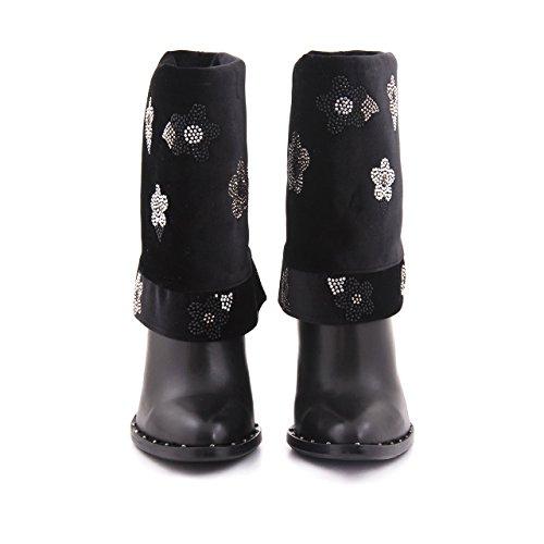 Rouge Damer Premium Ægte Læder Ankel Støvle Slip Støvler Læder Læder Støvler Med Sten bZzgBdq