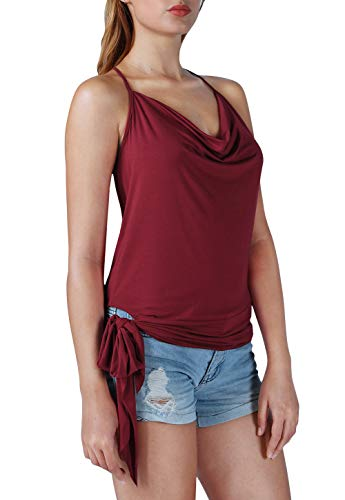 Air Curvey Womens Loose Camisole Sexy Tank Tops Halter Neck Draped Top Side Tie Sleeveless Shirts Wine Red S Draped Neck Halter Top