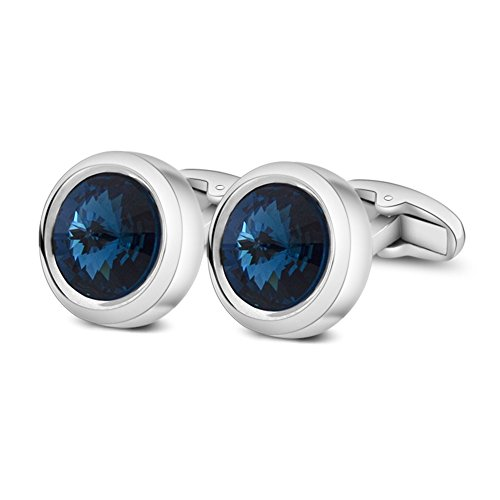 MERIT OCEAN Mens Cufflinks Elegant Style Cuff Link Super Shiny Swarovski Navy Blue Crystal Circular Cufflinks with Gift Box