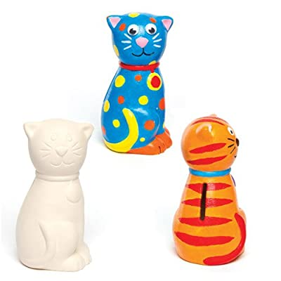 Baker Ross Ceramic Cat Coin Banks, Piggy Banks For Kids To Paint, Decorate and Display (Pack of 2): Home & Kitchen