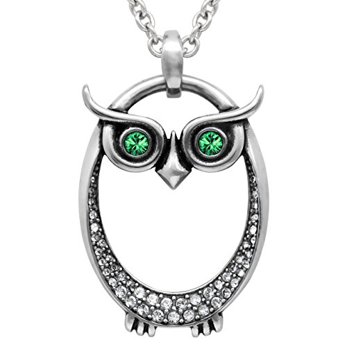 Green May Birthstone Pendant (Controse Owl Birthstone Necklace With Swarovski Crystal (05-May – Green))