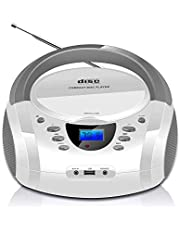 LONPOO Stereo Portable Top-Loading CD Player Boombox Bluetooth FM Radio with Aux Line-in, LED Display and USB/Headphone Jack (White)