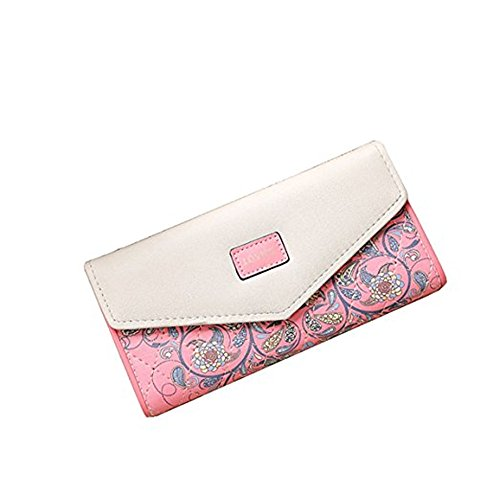 Women Fashion PU Leather Wallet Zip Around Purse Long Handbag (Pink) - 7