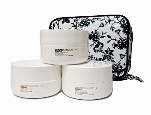 - Serious Skincare Serious-C Dermal Crepe Resist Intensive Body Cream Variety Scent TRIO Sparkling Grapefruit, Star Jasmin & Ginger Zing with White Stargazer Toile Print Cosmetic Case