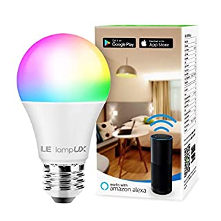 Smart WiFi Light Bulbs, LED Color Changing Lights, Works with Alexa & Google Home, RGBW 2700K-6500K, 60 Watt Equivalent, Dimmable with App, A19 E26, No Hub Required, 2.4GHz WiFi