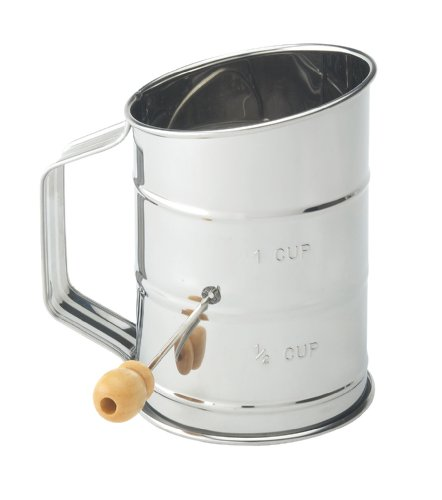 Mrs. Anderson's Baking Hand Crank Flour Icing Sugar Sifter, Stainless Steel, 1-Cup 1 Hand Crank