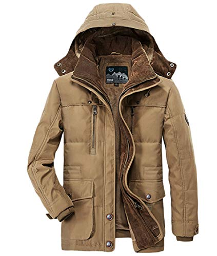 Military Sherpa Hood Khaki Men's Coat Outerwear Parka Gocgt Windbreaker xaEqYxp1