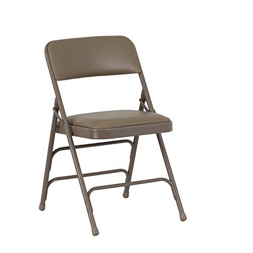 Flash Furniture 4 Pk. HERCULES Series Curved Triple Braced Double Hinged Beige Vinyl Metal Folding Chair