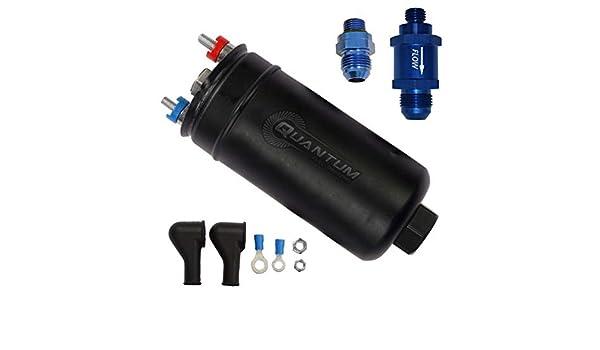 E85 340LPH inline high flow EFI fuel pump 8an 10an bosch 044 style external 8