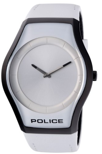 Police Women's PL-12096JSB/04 Sphere Silver Dial White Leather Watch