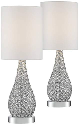 (Kasey Modern Accent Table Lamps Set of 2 Crystal Bead Silver Gourd White Drum Shade for Living Room Family Bedroom Bedside - Possini Euro Design)