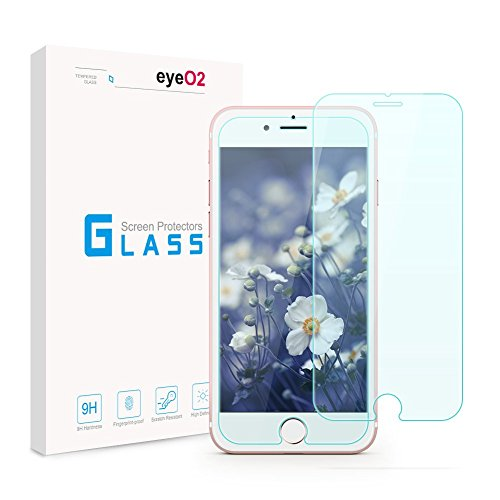 EyeO2 Screen Protector for iPhone 7/ iPhone 8 Anti-scratch & Anti-fingerprint Tempered Glass 9H Hardness Screen Film Protective Accessories for iPhone 7, 8 Screen Guard Clear(2 Pack)