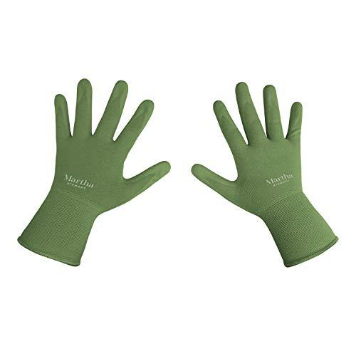 Martha Stewart MTS-GLVNP1-L Nitrile Coated All-Purpose Garden Gloves w/Non-Slip Grip, Large, Bay Leaf Green