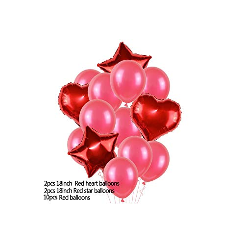 14pcs Multicolor Mixed 12inch Latex Balloon with 18inch Star Heart Foil Balloons Wedding Birthday Party Air Balls Decoration 75,T06