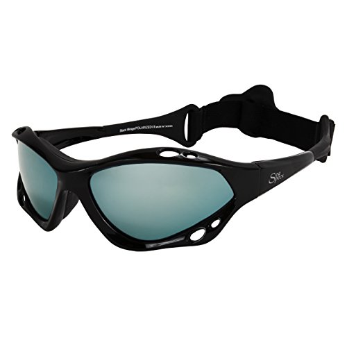 SeaSpecs Black Mirage Surfing Kiteboarding Jetskiing Windsurfing Sunglasses with Ice Blue - Sunglasses Windsurfing
