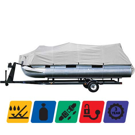 TTSC Pontoon Boat Cover 600D, Polyester Canvas TRAILERABLE Boat Cover, Waterproof, Length: 17'-20' Beam Width: up to 102`