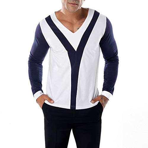 kaifongfu Men's Long Sleeve T-Shirt with V Neck Patchwork Slim Long Sleeve Pollover Top(Navy,L)