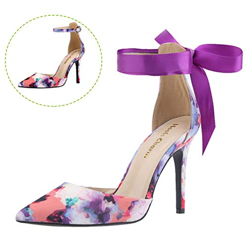 Women's Heel Pumps Stilettos Pointed Toe High Heel Dress Sandals with Ankle Strap Ribbon Velvet Size 9 -