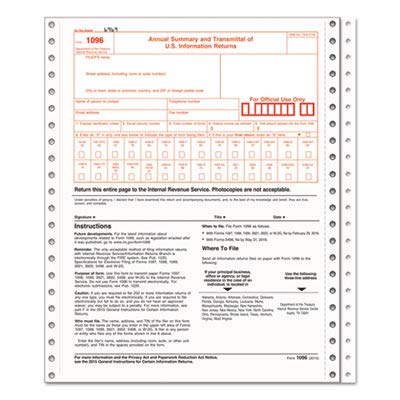 Amazon com : 1096 IRS Approved Tax Forms, 8 x 11, 2-Part