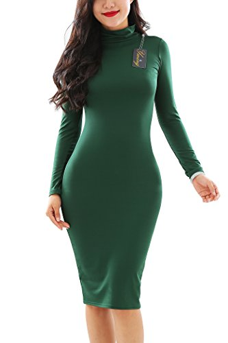 Sleeve YMING Dress Turtleneck Long Dress Sexy Fit Green Bodycon Comfy Women Slim f44wBx