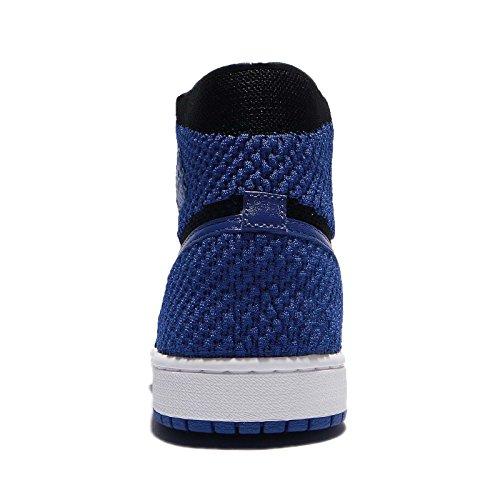 Nike Herren Air Jordan 1 Retro Hi Flyknit Basketballschuhe black, game royal-white