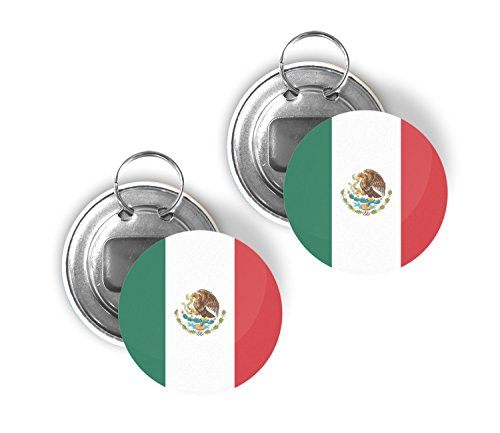 - Country of Mexico Two Pack of Flag Beer Bottle Opener Keychain Buttons 2.25-inch Round Mexican
