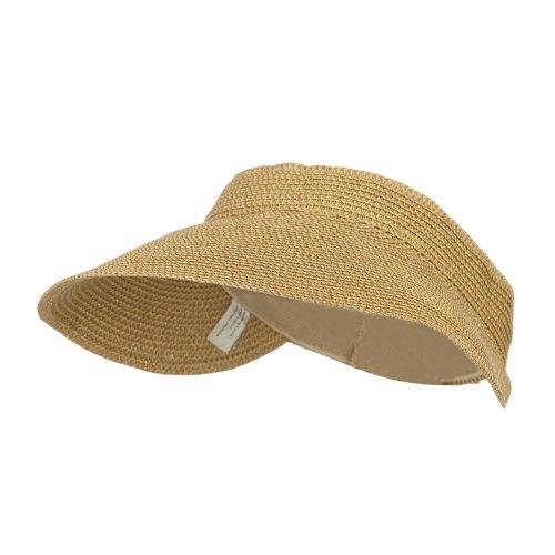 Fleece Braid Hat - Jeanne Simmons Women's UPF 50+ Metallic Poly Paper Braid Visor - Tan OSFM