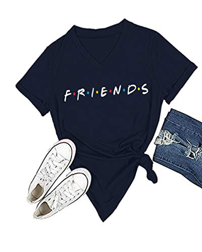Womens Cute Graphic Crewneck T Shirt Junior Tops Teen Girls Graphic Tees (Navy Vneck, S)
