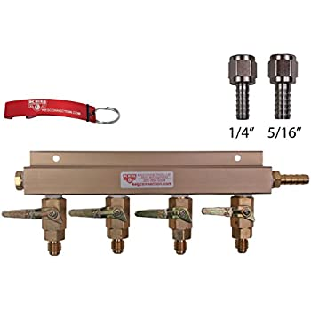 4 Way CO2 Manifold with Integrated Check Valves and MFL Fittings Bundle by Kegconnection