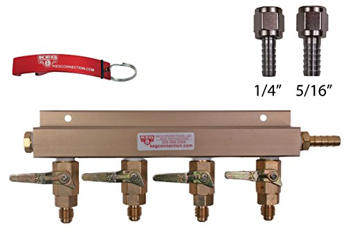 (4 Way CO2 Manifold with Integrated Check Valves and MFL Fittings Bundle by Kegconnection)